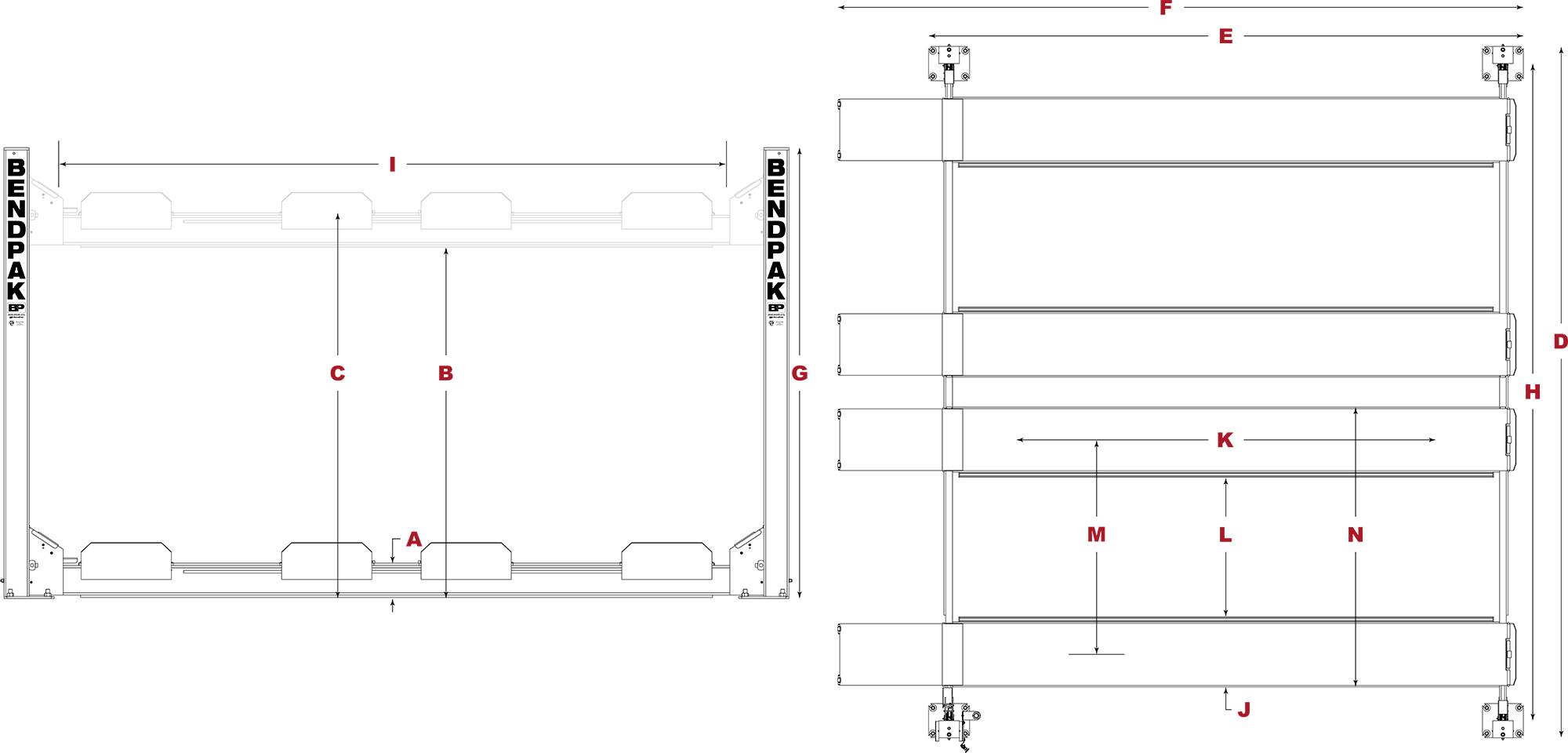 Hd-9sw Four-post Hoist - Super-wide Car Lift