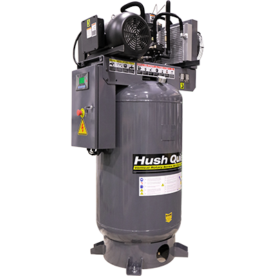 Vertical rotary screw air compressor with an 80-gallon tank