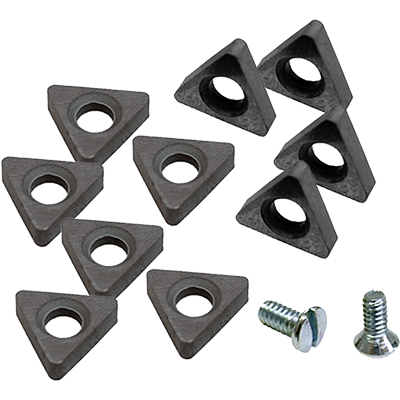 Cutting Tips 10-Piece Positive-Rake Carbide Cutting Tips with 2 Screws / Fits RL-8500 and RL-8500XLT