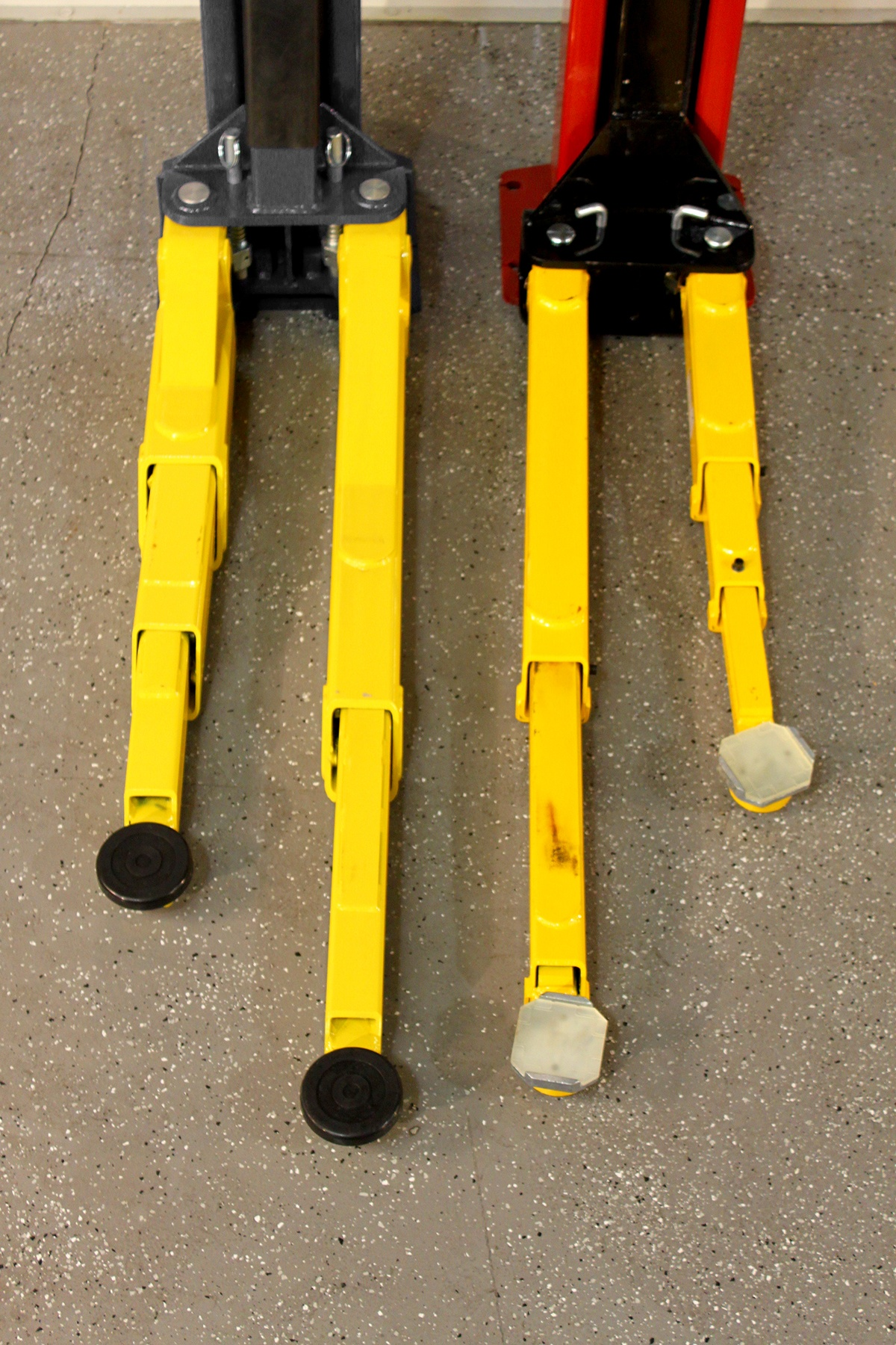 BendPak Two-Post Hoist Compared to Challenger Lift Arms Extended